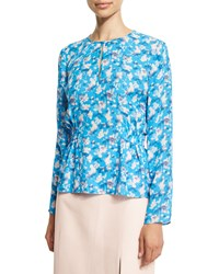Tanya Taylor Heather Floral Chiffon Top Cornflower Cornflower Multi
