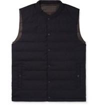 Incotex Nanamica Slim Fit Reversible Checked Shell And Wool Blend Quilted Down Gilet Navy