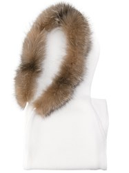 Eleventy Sleeveless Hooded Cardigan Fox Fur Virgin Wool White