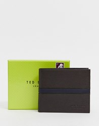 Ted Baker Freemer Colour Block Billfold And Coin Wallet With Rfid Brown