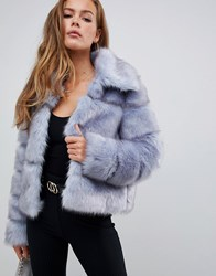 Missguided Premium Crop Pelted Faux Fur Jacket Ice Blue