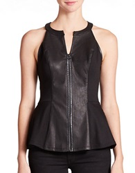 Guess Faux Leather Peplum Top Jet Black
