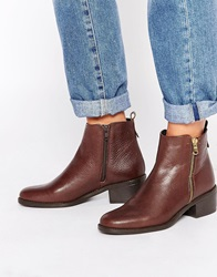 Oasis Zip Detail Ankle Boots Brown