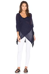 Derek Lam Long Sleeve Cross Front Sweater Navy