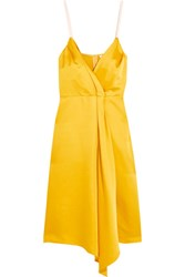 Victoria Beckham Draped Silk Blend Satin Dress Yellow
