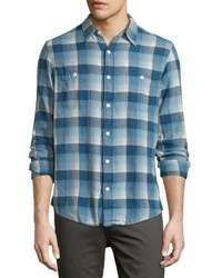 Faherty Seasons Plaid Print Work Shirt Indigo