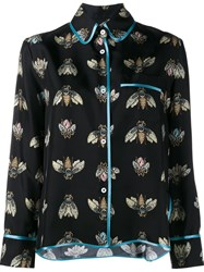 For Restless Sleepers Bee Print Pyjama Shirt Black