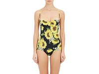 Dolce And Gabbana Women's Floral Print One Piece Swimsuit Black