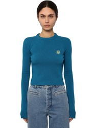 Loewe Crop Anagram Embroidery Logo Sweater Blue