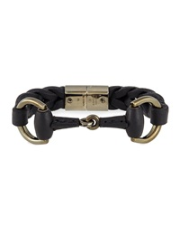 Gucci Leather Bracelet With Horsebit Detail Black