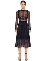 Self Portrait Paneled Star Guipure Lace Midi Dress