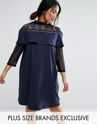 Unique 21 Hero Plus Lace 3 4 Sleeve Shift Dress With Ruffle Detail Navy
