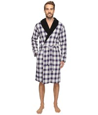 Ugg Kalib Shawl Collar Robe Plaid Navy Men's Robe Multi