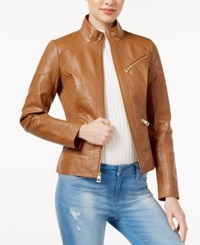 Guess Ribbed Faux Leather Jacket Saddle