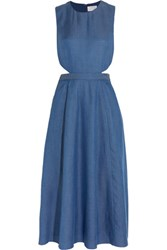 Tanya Taylor Monica Cutout Chambray Midi Dress Blue