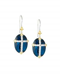 Jude Frances Oval Quartz Doublet Dangle And Drop Earrings W Pave Cross Blue