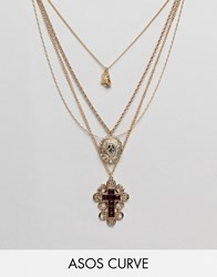 Asos Design Curve Exclusive Multirow Necklace With Choker And Crystal Vintage Icon And Cross Pendant In Gold