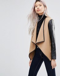Wal G Jacket With Contrast Sleeves Camel Beige
