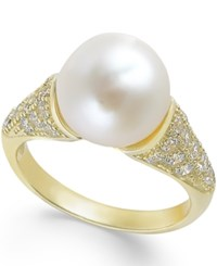 Macy's Cultured Freshwater Pearl 10Mm And Cubic Zirconia Ring In 14K Gold Over Sterling Silver Yellow Gold