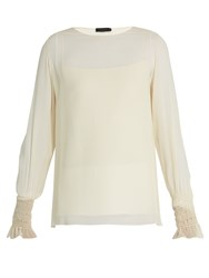 The Row Laver Crinkled Silk Blouse Beige