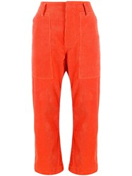 Sofie D'hoore Cropped Length Ribbed Trousers Orange