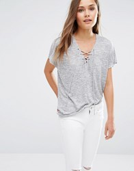 New Look Lace Up T Shirt Grey