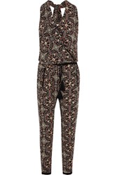 Talitha Raj Printed Silk Georgette Jumpsuit Black