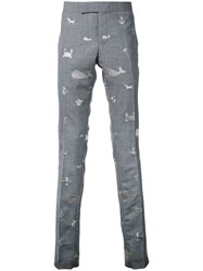 Thom Browne Embroidered Animals Chinos Grey