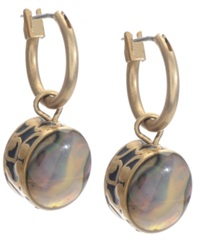 Kenneth Cole New York Earrings Gold Tone Abalone Drop