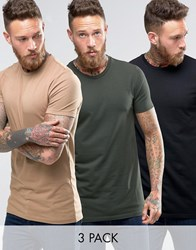 Asos 3 Pack Longline Muscle T Shirt In Black Green Beige Bk Army Sand Dune Multi
