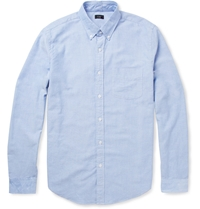 J.Crew Button Down Collar Cotton Oxford Shirt Blue