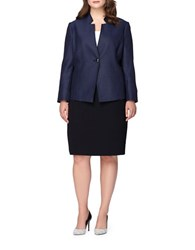Tahari By Arthur S. Levine Plus Two Piece Starneck One Button Jacket Skirt Suit Blue Black