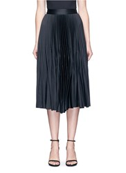 Nicholas Satin Pleat Midi Skirt Black