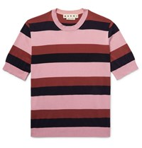 Marni Striped Knitted Cotton T Shirt Antique Rose