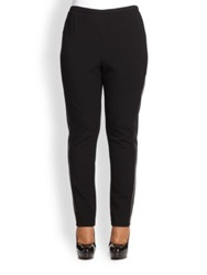 Lafayette 148 New York Plus Size Contrast Panel Riding Leggings Black