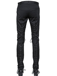 Christian Dada 17Cm Lace Up Stretch Cotton Pants Black