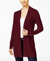 Jm Collection Petite Open Front Button Sleeve Cardigan Created For Macy's Bright Wine