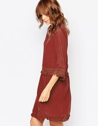 Vila Double Layered Folk Dress With Crochet Trims Rosewood