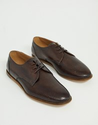 Hudson H By Crayford Embossed Woven Lace Up Shoes In Brown
