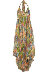 Alice Olivia Ollie Printed Gauze Maxi Dress Orange
