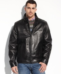 Tommy Hilfiger Jacket Smooth Lamb Leather Stand Collar Jacket Black