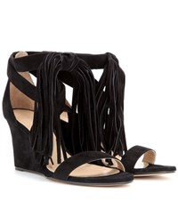 Chloe Tasselled Suede Wedge Sandals Black