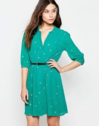 Yumi Belted Dress With 3 4 Sleeve In Bug Foil Print Green