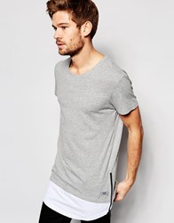 Esprit T Shirt With Cut And Sew Hem Grey