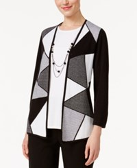 Alfred Dunner Colorblocked Layered Look Sweater Multi