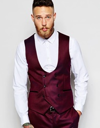 Noose And Monkey Tuxedo Double Breasted Waistcoat With Stretch In Skinny Fit Burgundy