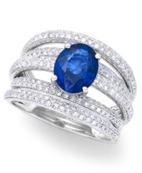 Effy Collection Royale Bleu By Effy Diffused Sapphire 1 9 10 Ct. T.W. And Diamond 7 8 Ct. T.W. Ring In 14K White Gold