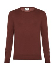 Acne Studios Clissold O Crew Neck Wool Sweater Burgundy