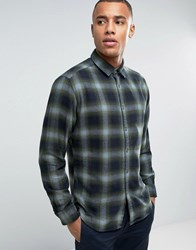 Esprit Regular Fit Long Sleeve Shirt In Flanel Check Cotton Green 355