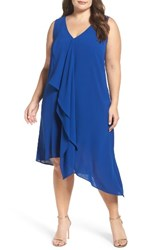 Adrianna Papell Plus Size Women's Sleeveless Asymmetrical Front Drape Crepe Shift Dress Deep Ocean